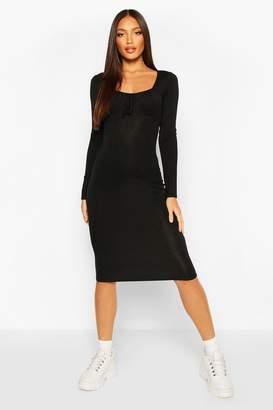 boohoo Long Sleeve Ruched Bust Jersey Midi Dress