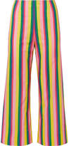 STAUD - Maui Striped Stretch-cotton Poplin Wide-leg Pants - Yellow