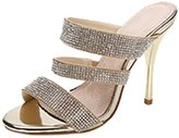 CAMSSOO Women's Classic Simple Open Toe Dress Slip On Stiletto High Heels Slide Sandals Gold PU Size 9 EU41