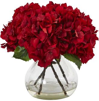 Nearly Natural H Red Hydrangea Silk Flower Arrangement With Glass Vase