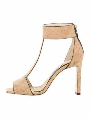 Jimmy Choo Cork Ankle Strap Sandals w/ Tags Tan