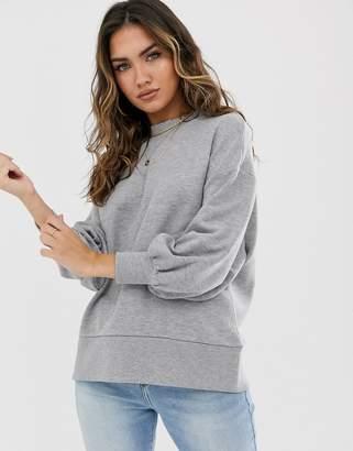 Asos Design Design minimal oversized sweat with wide sleeve in grey marl