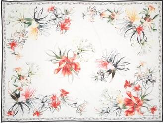 Alexander McQueen Endangered Flower Cotton & Silk Pareo Scarf