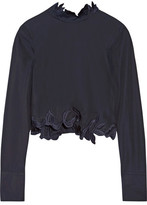 3.1 Phillip Lim Asymmetric Embroidered Cotton-poplin Top - Midnight blue