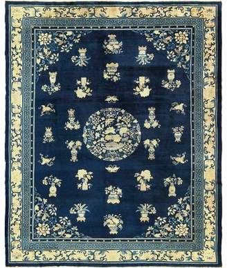 Blue & Cream Nazmiyal Collection Chinese And White Peking Antique Blue/Cream Area Rug Nazmiyal Collection