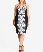 City Chic Trendy Plus Size Ikat-Print Bodycon Dress