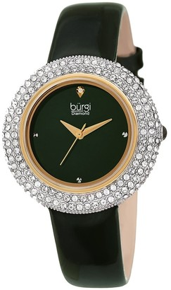 Burgi Ladies Diamond Swarovski Crystal Sparkling Green Leather Strap Watch