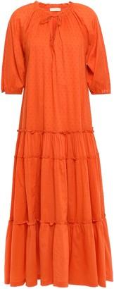 By Ti Mo Tiered Cotton Swiss Dot Midi Dress