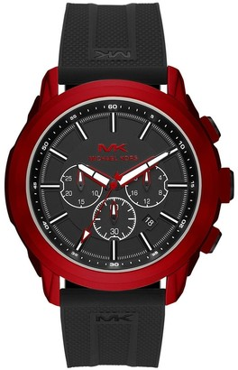 Michael Kors Men's Black Silicone Strap Stainless Steel Red Watch