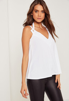 Missguided Eyelet Detail Double Strap Tank Top White
