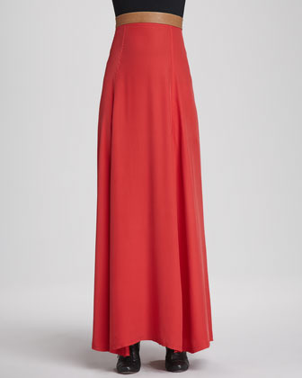 Helena korovilas Leather-Waist Maxi Skirt