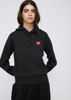 Comme des Garcons Black Red Heart Hooded Sweatshirt