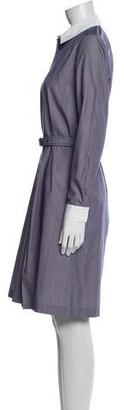 Vanessa Seward Striped Knee-Length Dress Blue