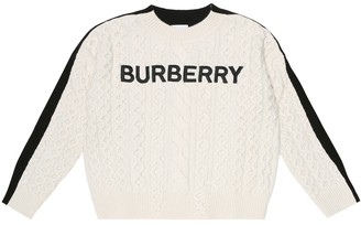 BURBERRY KIDS Logo embroidered wool-blend sweater