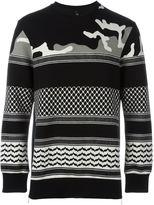 Neil Barrett patterned camouflage sweatshirt - men - Cotton/Spandex/Elastane/Lyocell/Viscose - S