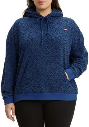 Levi's Plus Relaxed-Fit Leopard-Print Hoodie