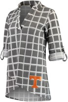 Unbranded Women's Gray Tennessee Volunteers In It To Win It Window Pane V-Neck 3/4-Sleeve Blouse