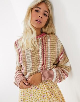Free People show me love stripe fine knit jumper-Beige