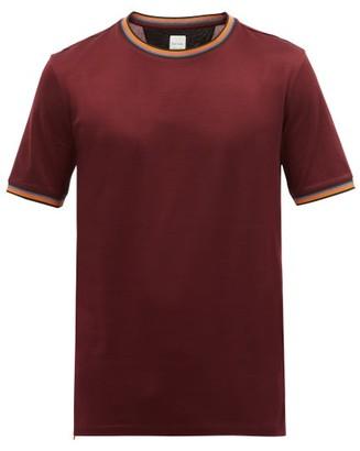 Paul Smith Artist-stripe Crew-neck Cotton-jersey T-shirt - Burgundy