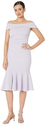 Vince Camuto Off the Shoulder Dress with Collar and Flounce (Lavender) Women's Dress