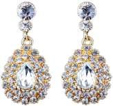 MagiDeal Full Clear Rhinestone Glitter Tear Drop Dangle Diamante Bridal Party Earrings Lady Bridal Bridesmaids Wedding Party Prom Jewelry