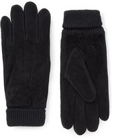 Ribbed Cuff Suede Gloves With Thinsulatetm
