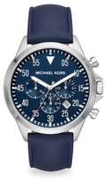 Michael Kors Gage Stainless Steel & Leather Strap Chronograph Watch