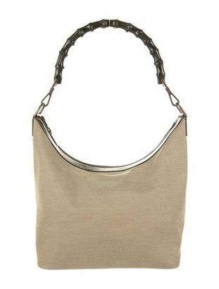 Gucci Leather-Trimmed Canvas Bamboo Hobo Tan