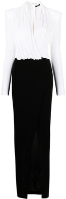 Balmain Plunge-Neck Draped Evening Dress