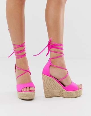 Raid RAID Marea neon pink tie up espadrille wedge sandals