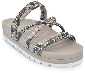 J/Slides Embossed Snakeskin-Print Faux Leather Sandals