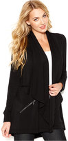 Kensie Draped-Neck Zipper-Pocket Cardigan