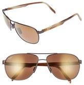 Maui Jim Men's 'Castles - Polarizedplus2' 61Mm Aviator Sunglasses - Matte Black