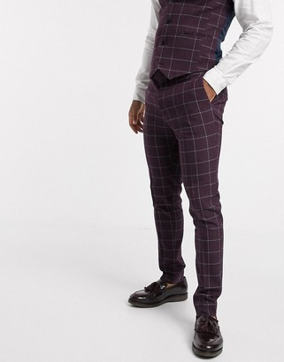 ASOS DESIGN wedding super skinny suit trousers in burgundy check