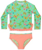 Hula Star Girls' Butterfly Print Rashgaurd 2-Piece Swimsuit - Little Kid