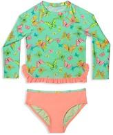 Hula Star Girls' Butterfly Print Rashgaurd 2-Piece Swimsuit - Sizes 2T-6X