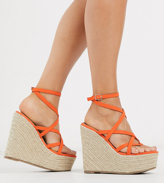 ASOS DESIGN Wide Fit Work espadrille wedges in coral