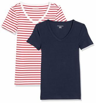 Amazon Essentials Women's Standard 2-Pack Slim-Fit Short-Sleeve V-Neck T-Shirt Red/White Stripe Ringer/Navy X-Small
