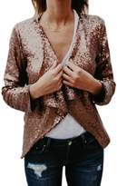 Suvotimo Women Elegant Shawl Collar Long Sleeve Sequins Blazer Party Jackets M