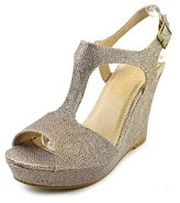 Rampage Candelas Women Open Toe Synthetic Gold Wedge Sandal.