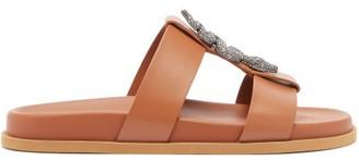 Valentino Crystal-embellished Snake-plaque Leather Slides - Tan