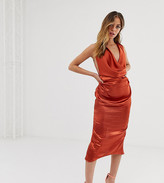 Asos DESIGN Petite midi dress with drape cowl neck in high shine satin