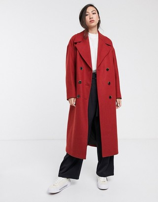 Selected longline oversized coat in red