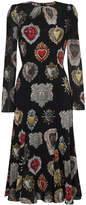 Dolce & Gabbana Black Heart Print Midi Dress
