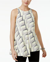 Alfani Petite Geo-Print Asymmetrical Top, Only at Macy's