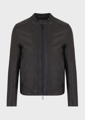 Emporio Armani Zipped, Nappa Leather Jacket