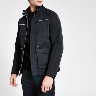 River Island MCMLX black longline racer jacket