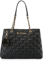 Betsey Johnson Bee Mine Heart-Quilted Tote Bag, Black