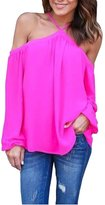 Bling Stars Chiffon Blouse Womens Off Shoulder Strap Loose Long Sleeve T-Shirt Tops