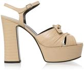 Saint Laurent Candy 80 Bow Lizard Embossed Platform Sandals